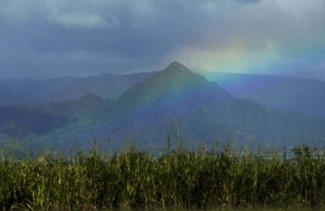 A rainbow falls over Coconut Island in Kaneohe Bay after a night of strong wind and rain on Oahu January 3, 2015. (Photo by Gary Cameron/Reuters)