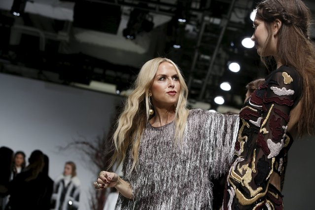 Designer Rachel Zoe prepares models before presenting her Fall/Winter 2016 collection at New York Fashion Week, February 14, 2016. (Photo by Andrew Kelly/Reuters)