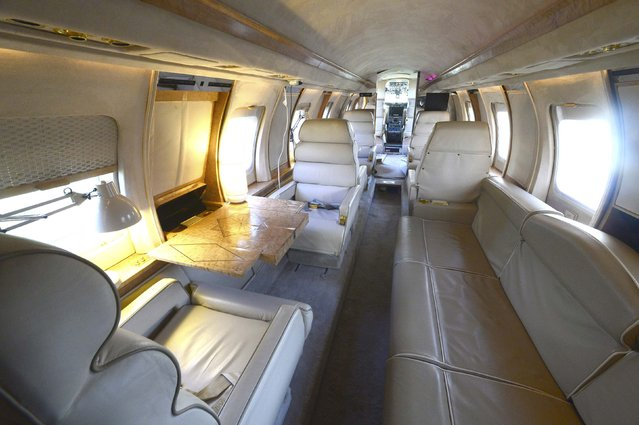 The inside of a luxury Jetstar private jet, built in the seventies and retaining most of the original features which is now being used as a holiday let is seen in Redberth, Pembrokeshire, Wales, January 11, 2017. (Photo by Rebecca Naden/Reuters)