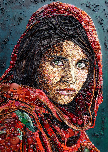 Afghan Girl (based on photograph by Steve McCurry/National Geographic). (Photo by Jane Perkins/Caters News)