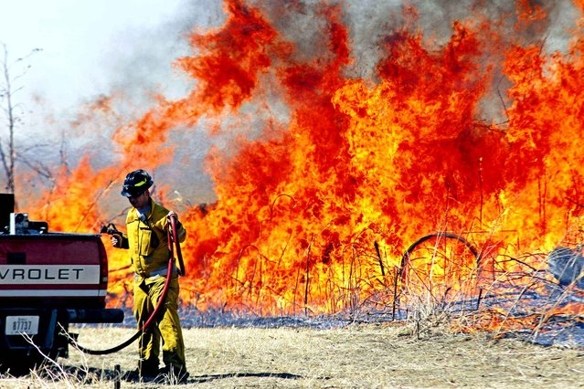 In this photo taken on Monday, March 16, 2015, a firefighters works to contain a grass fire north of Honey Creek, Iowa. Officials say the large grass fire in western Iowa was caused by what was meant to be a controlled burn. (Photo by Mike Bell/AP Photo/The Daily Nonpareil)