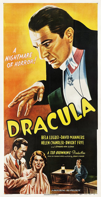 """Dracula (Universal, R-1947). Three Sheet (41.25"""" X 79.5""""). The only known copy for the 1947 reissue of the iconic Universal horror classic starring Bela Lugosi! Because of the popularity and the huge money making potential of the film released in 1931, Universal Studios reissued it in 1938 and again in 1947. Estimate: $40,000 - $80,000. (Photo by Courtesy Heritage Auctions)"""