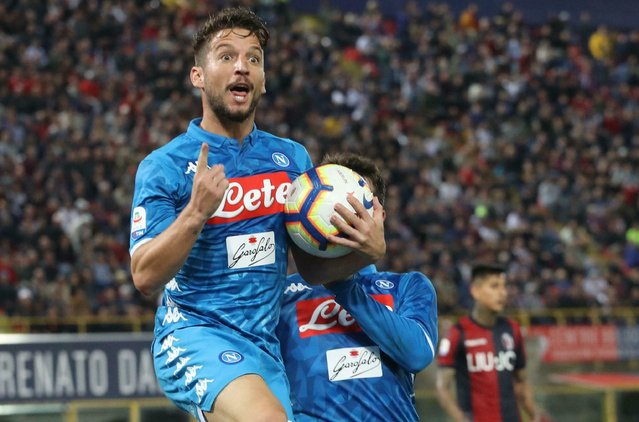 Napoli's Dries Mertens celebrates after scoring during the Italian Serie A soccer match between Bologna and Napoli at the Renato Dall'Ara stadium in Bologna, Italy, Saturday, May 25, 2019. (Photo by Victor R. Caivano/Giorgio Benvenuti/ANSA via AP)