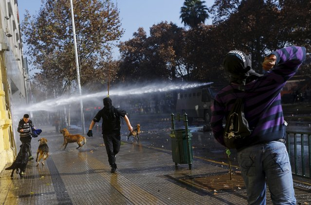 Protesters clash with riot policemen during a demonstration to demand changes in the Chilean education system in Santiago, Chile June 25, 2015. (Photo by Ricardo Moraes/Reuters)