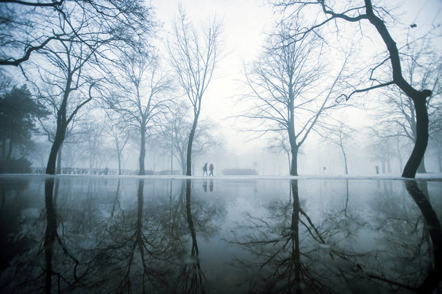 Strollers walk during morning fog at the City Park of Budapest, Hungary, Friday, February 3, 2017. (Photo by Zoltan Balogh/MTI via AP Photo)