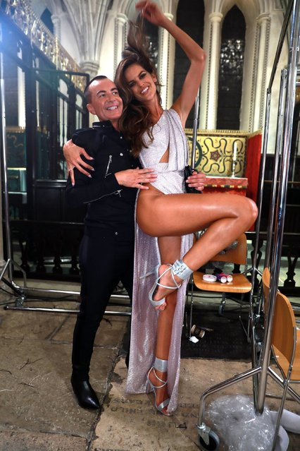 Julien MacDonald and Izabel Goulart backstage at Julien Macdonald presents Julien x Gabriela show during Spring Summer 2020 London Fashion Week in London, United Kingdom on September 16, 2019. (Photo by Backgrid USA)