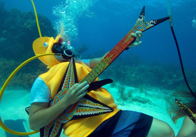 Jeff Wright, costumed as a seahorse, rocks with a fake guitar during the Underwater Music Festival in the Florida Keys National Marine Sanctuary off Big Pine Key, Florida in this July 11, 2015 handout photo. The annual event attracted hundreds of divers and snorkelers who listened to a local radio station's four-hour broadcast piped beneath the sea via underwater speakers, featuring music programmed for the subsea listening experience as well as coral reef conservation messages. (Photo by Rob Care/Reuters/Florida Keys News Bureau)