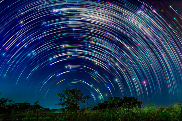 Star trails pictured in the sky of Singapore by photographer Justin Ng. These astonishing images of night sky are captured by Singapore based photographer Justin Ng. The pictures were taken between November 2013 to January 2014. It show's star trail caused by the earth's rotation and also can be achieved by zooming the DSLR lens inward or outward in small steps using a dedicated motorized zooming device. (Photo by  Justin Ng/Barcroft Media)