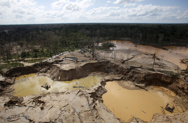 An area deforested by illegal gold mining is seen in a zone known as Mega 14, in the southern Amazon region of Madre de Dios July 14, 2015. The stings at the edge of the Tambopata National Reserve were the first in the southeastern region of Madre de Dios since a crackdown let up in December. (Photo by Janine Costa/Reuters)