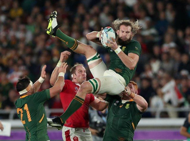 Wales' Alun Wyn Jones in action with South Africa's RG Snyman during their Rugby World Cup semi final in Yokohama, Japan, October 27, 2019. (Photo by Peter Cziborra/Reuters)
