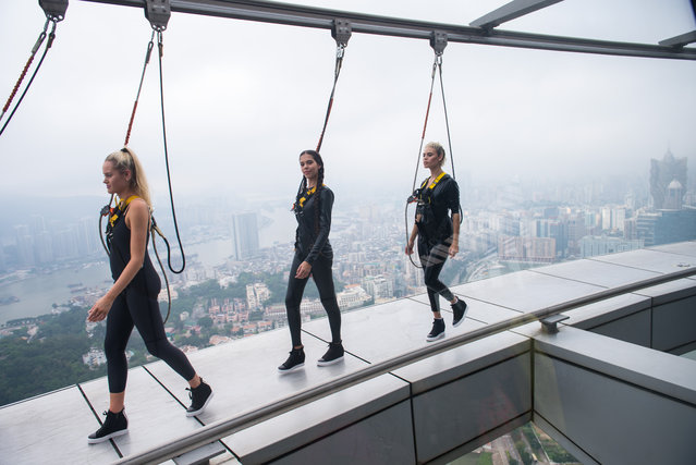 Models attend the launching ceremony for the 10th World Supermodel Production and International Fashion Show at the 233-metre-high Macao Tower, China on May 23, 2017. (Photo by Xinhua News Agency/Rex Features/Shutterstock)