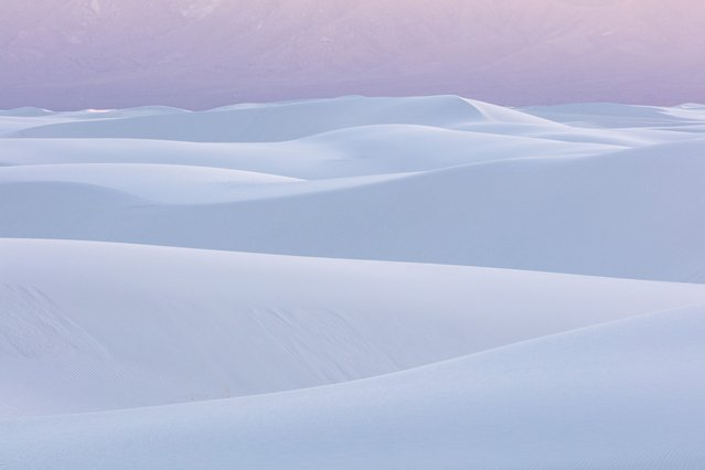 Soft white sand dunes in pink light of dusk at White Sand National Monument, Almogordo, New Mexico. (Photo by David Clapp/Barcroft Images)
