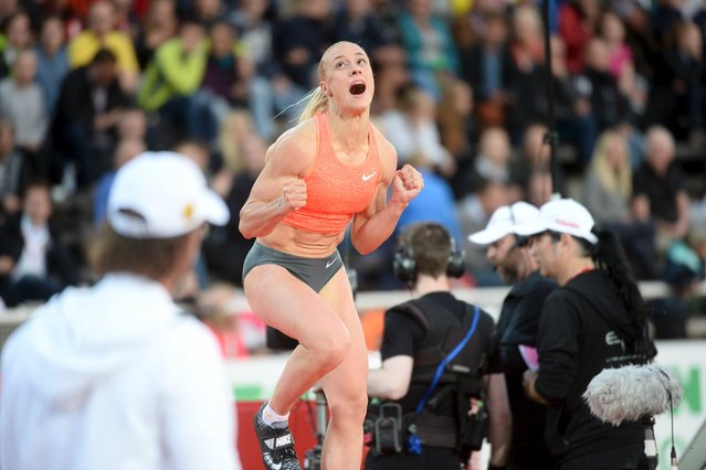 Nikoleta Kyriakopoulou of Greece reacts after clearing 4.76 in the women's pole vault event of the IAAF Athletics Diamond League meeting at Stockholm Olympic Stadium, July 30, 2015. (Photo by Fredrik Sandberg/Reuters/TT News Agency)
