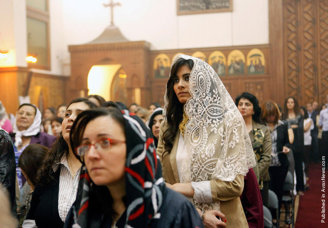 Coptic Orthodox Christians attend mass on Easter Sunday in Cairo, Egypt