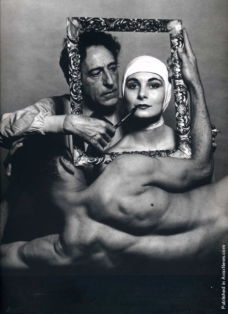 French poet, artist and filmmaker Jean Cocteau with actress Ricki Soma and dancer Leo Coleman. USA, New York City. 1949. Photo by Philippe Halsman