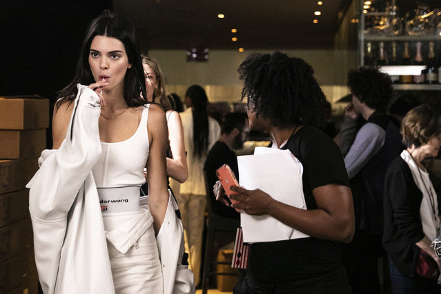 Model Kendall Jenner is seen backstage at the Alexander Wang fashion show in New York, Friday, May 31, 2019, in New York. (Photo by Jeenah Moon/AP Photo)