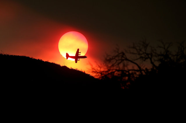 A firefighting air tanker flies in front of the setting sun while battling the Rocky Fire on August 1, 2015 near Clearlake, California. (Photo by Justin Sullivan/Getty Images)