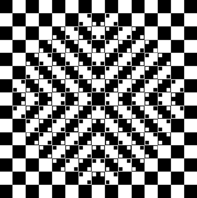 Center appears to bulge out, even though the image is only made of squares. (Photo by Akiyoshi Kitaoka/Caters News)