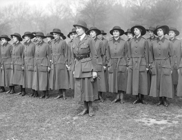 Women's Army recruits drilling. United Kingdom, 8th May 1917. (Photo by Topical Press Agency)