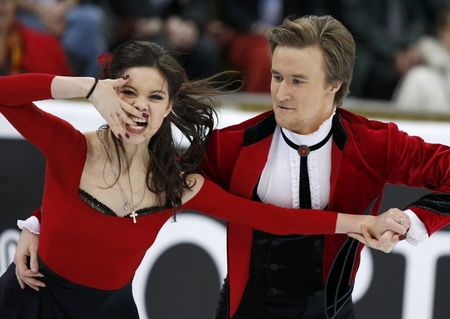 Russia's Elena Ilinykh and Ruslan Zhiganshin perform during the ice dance short program at the Rostelecom Cup ISU Grand Prix of Figure Skating in Moscow November 14, 2014. (Photo by Grigory Dukor/Reuters)