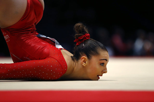 Maggie Nichols of the U.S. performs during the floor exercise at the women's team final competition at the World Artistic Gymnastics championships at the SSE Hydro Arena in Glasgow, Scotland, Tuesday, October 27, 2015. The U.S. team won the gold medal. (Photo by Matthias Schrader/AP Photo)