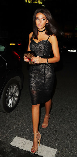 Michelle Keegan turns up at Menagerie Bar & Restaurant in Manchester, UK on Friday night, October 7, 2016 for a girls night out wearing a LIPSY Dress from her own collection her wedding ring. (Photo by Eamonn and James Clarke)