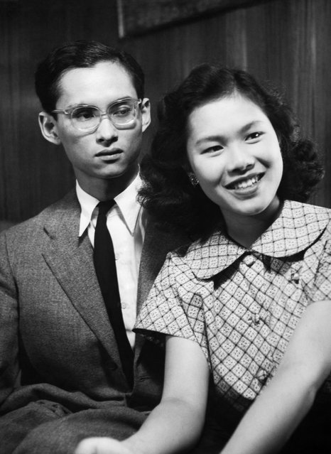 A 21-year-old Bhumibol with his future wife Sirikit Kitiyakara, 17, in 1949. (Photo by Keystone-France/Gamma-Keystone via Getty Images)