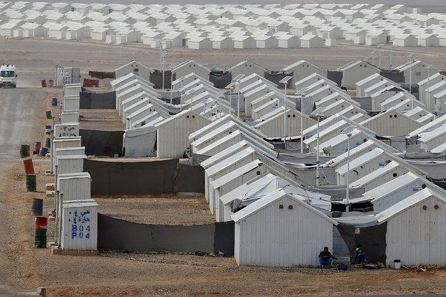 Public toilets are seen at Azraq refugee camp near Al Azraq city, Jordan, October 19, 2015. (Photo by Muhammad Hamed/Reuters)