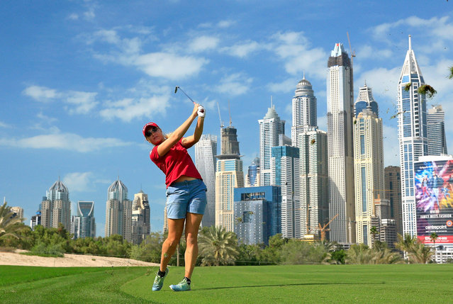 Charley Hull of England in action during the pro-am as a preview for the 2015 Omega Dubai Ladies Masters on the Majlis Course at The Emirates Golf Club on December 8, 2015 in Dubai, United Arab Emirates.  (Photo by David Cannon/Getty Images)