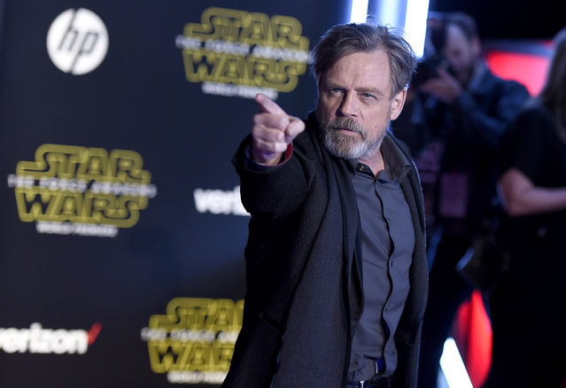 "Mark Hamill arrives at the world premiere of ""Star Wars: The Force Awakens"" at the TCL Chinese Theatre on Monday, December 14, 2015, in Los Angeles. Hamill plays the role of Luke Skywalker in the film. (Photo by Jordan Strauss/Invision/AP Photo)"
