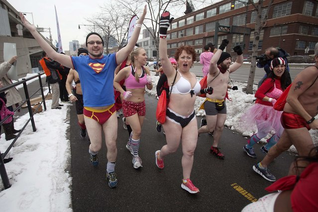 People take part in the Cupid's Undie Run in the Manhattan borough of New York February 7, 2015. (Photo by Carlo Allegri/Reuters)