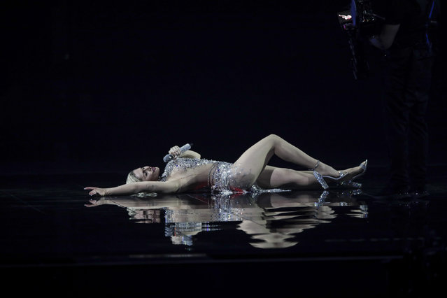 Elena Tsagrinou from Cyprus performs at the first semi-final of the Eurovision Song Contest at Ahoy arena in Rotterdam, Netherlands, Tuesday, May 18, 2021. (Photo by Peter Dejong/AP Photo)