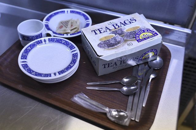 Tea making facilities are seen in the kitchens of a former Regional Government HQ Nuclear bunker built by the British government during the Cold War which  has come up for sale in Ballymena, Northern Ireland on February 4, 2016. (Photo by Clodagh Kilcoyne/Reuters)