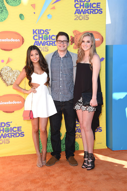 Actors Cristine Prosperi, Justin Kelly and Karis Camero attend Nickelodeon's 28th annual Kids' Choice Awards held at The Forum on March 28, 2015, in Inglewood, California. (Photo by Jason Merritt/Getty Images)