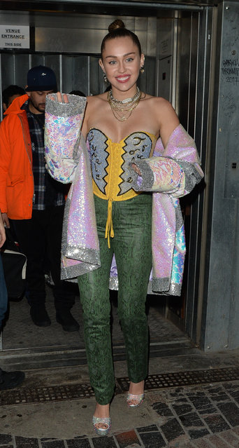 Miley Cyrus leaving Borderline club in London's Soho after her gig on December 8, 2018. (Photo by Palace Lee/Splash News and Pictures)