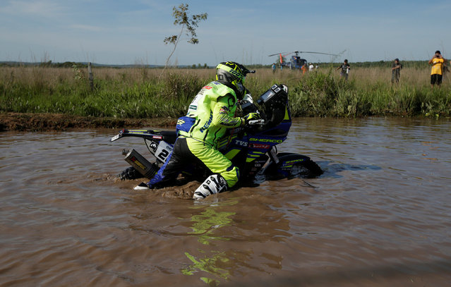 Dakar Rally, 2017 Paraguay-Bolivia-Argentina Dakar rally, 39th Dakar Edition, First stage from Asuncion, Paraguay to Resistencia, Argentina on January 2, 2017. Adrien Metge of France pushes his Sherco. (Photo by Ricardo Moraes/Reuters)