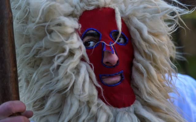 """A villager in a costume waits during """"Los Sidros y Las Comedias"""", a traditional festival in Spain's northern village of Valdesoto, January 8, 2017. (Photo by Eloy Alonso/Reuters)"""