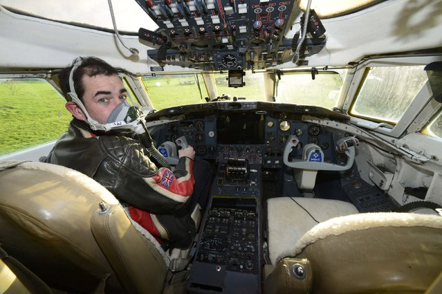 Owner Toby Rhys-Davies sits in the cockpit of a luxury Jetstar private jet, built in the seventies and retaining most of the original features which is now being used as a holiday let in Redberth, Pembrokeshire, Wales, January 11, 2017. (Photo by Rebecca Naden/Reuters)