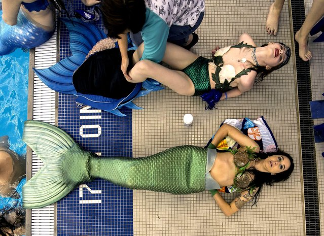 Merfolk gather at MerMania 2017, the world's largest gathering of amateur and professional mermaids and mermen in North Carloina, USA on January 21, 2017. (Photo by Brian Cahn/ZUMA Wire/Rex Features/Shutterstock)