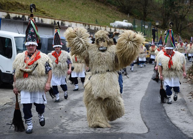 """A participant dressed as an Hartza (bear) (C) parades with bellringers, known as """"Joaldunak"""" (in Basque language) with big cowbells hanging on their back during the ancient carnival of Ituren, in the northern Spanish Navarra province on January 30, 2017. (Photo by Ander Gillenea/AFP Photo)"""