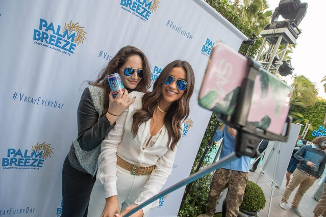 Actress and host Shay Mitchell (R) poses with friend Samantha Rosenmann at the launch party for Palm Breeze, a new sparkling alcohol spritz from Mike's Hard Lemonade, Co., at the Viceroy Santa Monica, Saturday, April 25, 2015 in Santa Monica, Calif. (Photo by Jeff Lewis/AP Images for Palm Breeze)