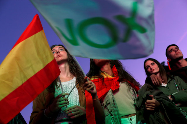 Supporters of Spain's far-right party VOX wait for the announcement of the results in Spain's general election in Madrid, Spain, April 28, 2019. (Photo by Susana Vera/Reuters)