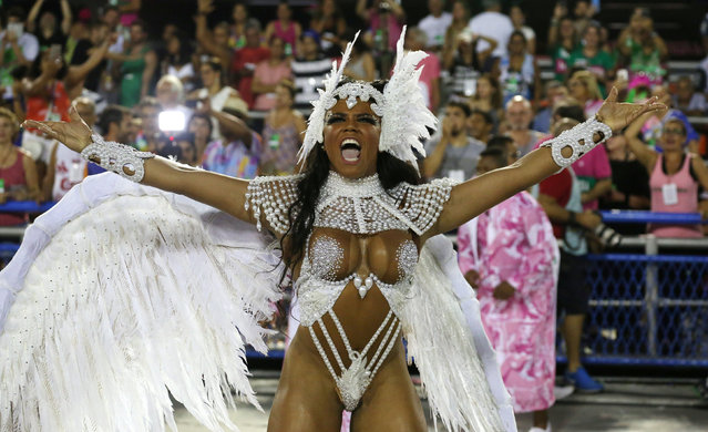 Drum queen Evelyn Bastos from Mangueira samba school performs during the second night of the carnival parade at the Sambadrome in Rio de Janeiro, Brazil, February 28, 2017. (Photo by Pilar Olivares/Reuters)