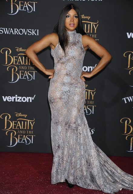 "Singer/songwriter Toni Braxton attends Disney's ""Beauty and the Beast"" premiere at El Capitan Theatre on March 2, 2017 in Los Angeles, California.(Photo by Frank Trapper/Corbis via Getty Images)"