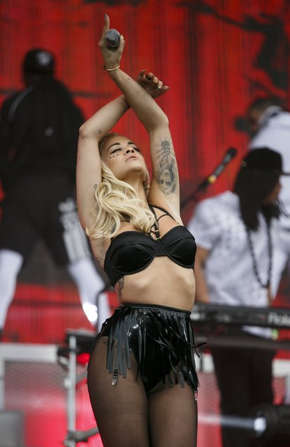 Rita Ora performs at the New Look Wireless Birthday Party at Finsbury Park on June 28, 2015 in London, England. (Photo by John Phillips/Getty Images)