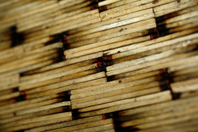 A closeup view of matchsticks forming a sculpture made by Janusz Urbanski in his flat in Ruda Slaska, Poland May 4, 2016. (Photo by Kacper Pempel/Reuters)