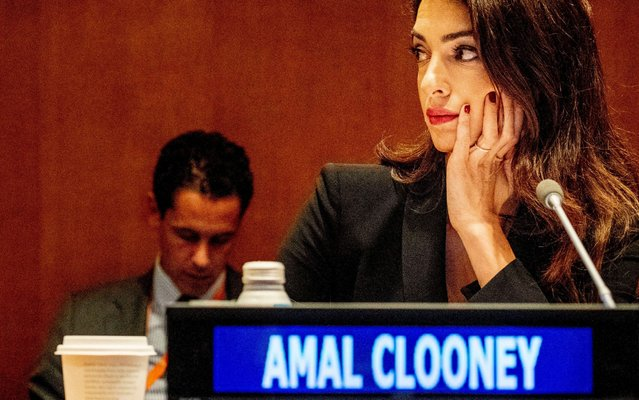 Amal Clooney during the meeting on ISIS at the United Nations headquarters in New York, USA on September 26, 2019. (Photo by Robin Utrecht/Rex Features/Shutterstock)
