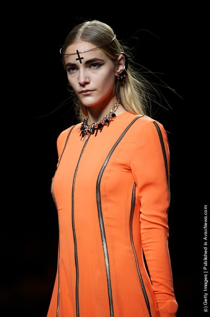 A model walks the runway in the Carlos Diez fashion show during the Mercedes-Benz Fashion Week Madrid Autumn/Winter 2012 at Ifema
