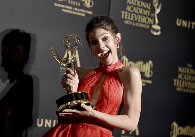 """Kate Mansi, winner of the award for outstanding supporting actress in a drama series for """"Days of Our Lives"""", poses in the press room at the 44th annual Daytime Emmy Awards at the Pasadena Civic Center on Sunday, April 30, 2017, in Pasadena, Calif. (Photo by Richard Shotwell/Invision/AP Photo)"""