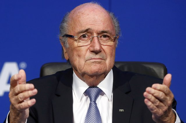 FIFA President Sepp Blatter reacts during a news conference after the Extraordinary FIFA Executive Committee Meeting at the FIFA headquarters in Zurich, Switzerland July 20, 2015. (Photo by Arnd Wiegmann/Reuters)